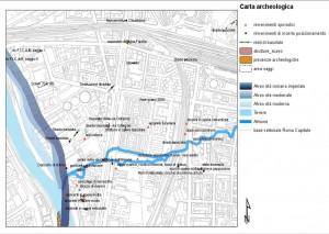 Fig. 4. Elaborazione GIS della carta delle presenze archeologiche, dettaglio dell'area alla foce dell'Almone.