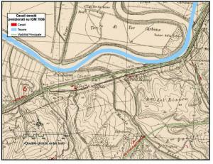 Fig. 5. I casali di bonifica lungo la via Ostiense posizionati su tavoletta I.G.M. del 1936.