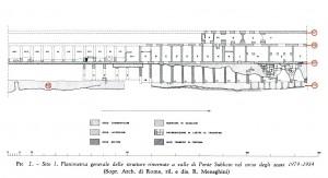 Fig. 5 - Planimetria generale delle strutture rinvenute durante gli scavi 1979 - 1984 (BNum 1985)